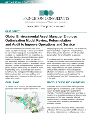 Review, Reformulation and Audit for a Global Environmental Asset Manager