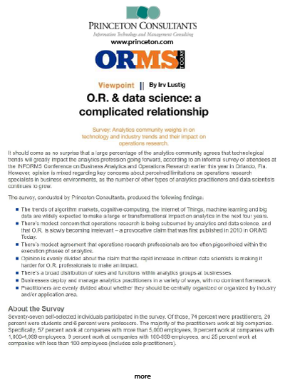 Princeton Consultants: O.R. & Data Science: A Complicated Relationship