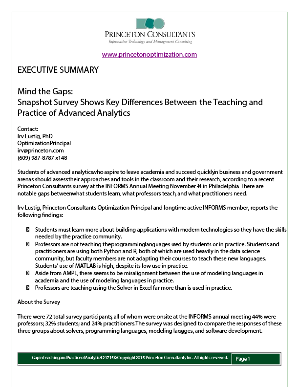 Insight: Survey Shows Key Differences Between the Teaching and Practice of Advanced Analytics